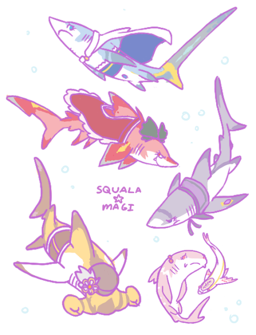 heartfelt-schmancy:  I drew madokasharks for shark week. Sayaka is a thresher shark Kyouko is a speartooth shark Homu is a reef shark Mami is a hammerhead Madoka is a nurse shark but later she becomes a whale shark and QB of course is a remora. bonus:  happy shark week