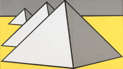 museumuesum:  Roy Lichtenstein Pyramids II, 1969 Oil and Magna on canvas  38 3/4 x 68 inches