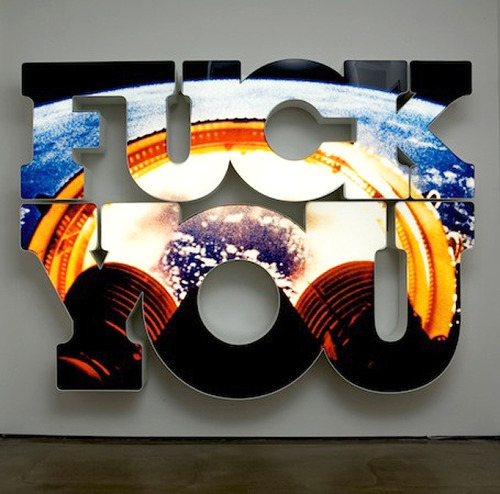 museumuesum:  Doug Aitken last blast, 2008 neon lit lightbox, 82 x 110 1/2 x 11 inches  Get the fuck out of here, spent stage. We're going to space.