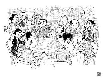 The Algonquin Round Table, in caricature by Al Hirschfeld for The New Yorker