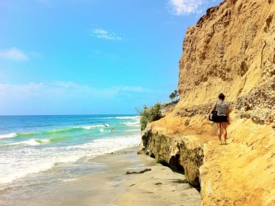 South Carlsbad State Beach - Hiking to our favorite spot.