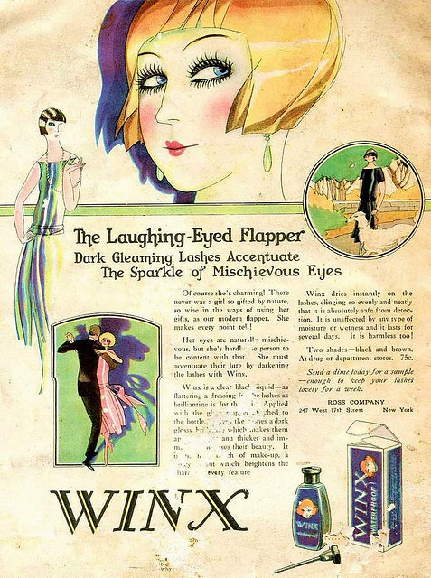 "Winx waterproof mascara on Flickr.   1920s? Found in blog Trouble in Paradise. Click image for 671 x 900 size. ""The Laughing-Eyed Flapper Dark Gleaming Lashes Accentuate The Sparkle of Mischievous Eyes Of course she's charming! There never was a irl so gifted by nature, so wise in the ways of using her gifts, as our modern flapper. She makes every point tell! Her eyes are naturally mischievous, but she's hardly the person to be content with that. She must accentuate their lure by darkening the lashes with Winx. Winx is a clear black liquid - as flattering a dressing for the lashes as brilliantine is for the hair. Applied with the (?) Winx dries instantly on the lashes, clinging so evenly and neatly that it is absolutely safe from detection. It is unaffected by any type of moisture or wetness and it lasts for several days. It is harmless too! Two shades - black and brown. At drug or department stores. 75c. Send a dime today for a sample - enough to keep your lashes lovely for a week. Ross Company"""