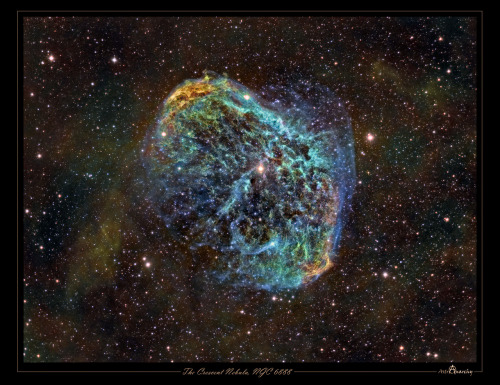 NGC 6888: The Crescent Nebula   Image Credit & Copyright:  J-P Metsävainio (Astro Anarchy)  Explanation:  NGC 6888, also known as the Crescent Nebula, is a cosmic bubble about 25 light-years across, blown by winds from its central, bright, massive star. This colorful portrait of the nebula uses narrow band image data combined in the Hubble palatte. It shows emission from sulfur, hydrogen, and oxygen atoms in the wind-blown nebula in red, green and blue hues. NGC 6888's central star is classified as a Wolf-Rayet star (WR 136). The star is shedding its outer envelope in a strong stellar wind, ejecting the equivalent of the Sun's mass every 10,000 years. The nebula's complex structures are likely the result of this strong wind interacting with material ejected in an earlier phase. Burning fuel at a prodigious rate and near the end of its stellar life this star should ultimately go out with a bang in a spectacular supernova explosion. Found in the nebula rich constellation Cygnus, NGC 6888 is about 5,000 light-years away. NASA APOD 16 Aug 2012