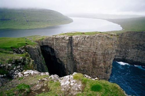 River and the Atlantic in the Faroe Islands - Imgur