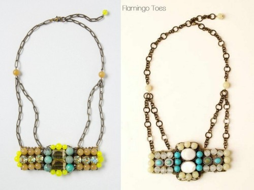 "truebluemeandyou:  DIY Anthropologie Almagest Knockoff Necklace Tutorial from Flamingo Toes here. Day Four (and my favorite so far) of Flamingo Toes' Anthropologie Necklace Knockoff Week (for the other Anthro knockoffs go here). *Bev has a ""how to do it"" basic jewelry tutorial page if you have questions. Also all necklace supplies except the two side Filigree squares came from Michaels. Left Photo: $298 Anthropologie Almagest Necklace here, Right Photo: DIY from Flamingo Toes."