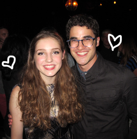 darrencriss-news:  British musician Birdy can croon/play the paino with the best of 'em, and the 16 year-old wunderkind tickled the ivories at her sold-out Roxy show this past Monday night in El Lay… And who is that hugging our twee feathered friend?! Oh 'tis only Glee's golden boy Darren Criss (above)! PerezHilton.com