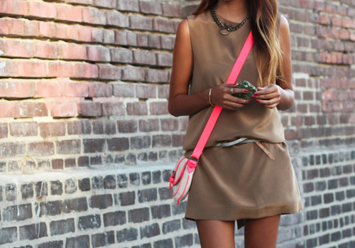 Neon and nude. Great use of the mint belt