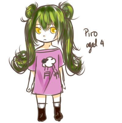 baby Piro u-u This was before she met the 'someone' I mentioned in her app so she's really gloomy and emo and never talked.