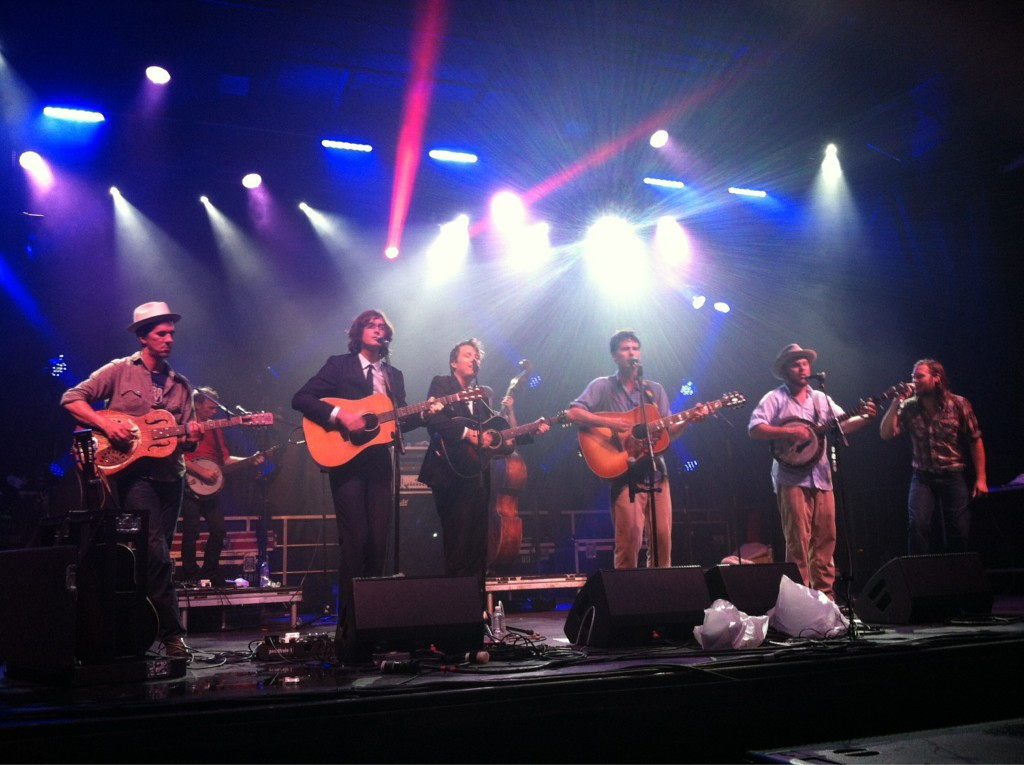 "10 August 2012.  The Milk Carton Kids & Old Crow Medicine Show.  ""I Hear Them All/This Land Is Your Land.""  Burlington, VT. Photographer lawlgabs"