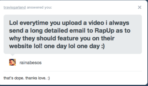 omgsh he replied to my tumblr message <3