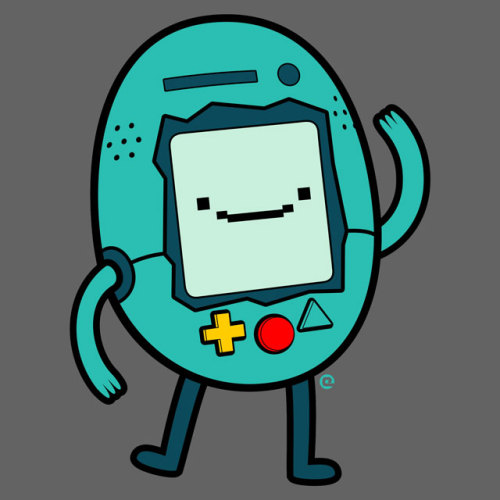 "eozenart:  Beemo's tops blooby as a pocket-size virtual pet! ""Bmogotchi"" by Eozen Click here for clothing and stickers at Redbubble.com Follow Eozen on Facebook 