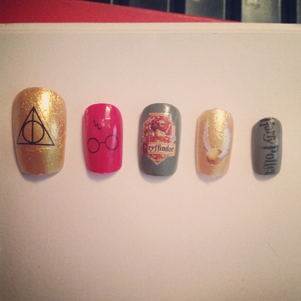 Custom Harry Potter nails for a customer! Can I keep em?! (Taken with Instagram)
