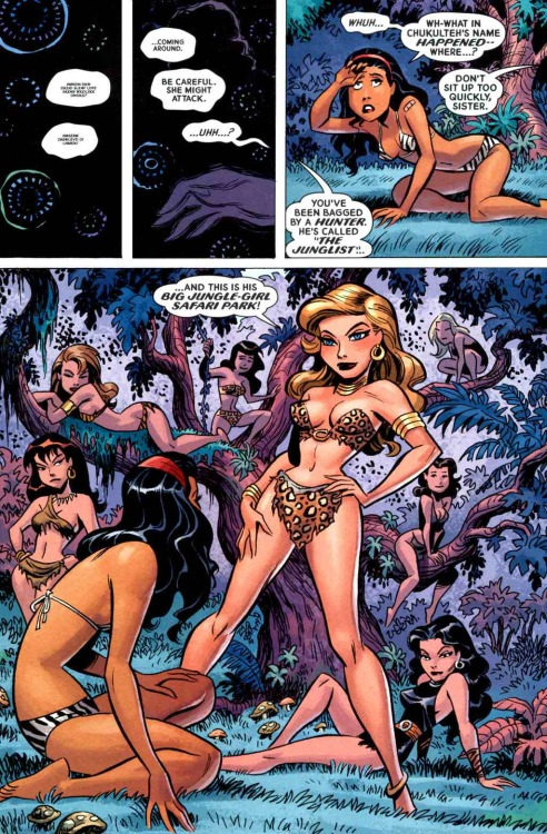 tasteslikecheesecake:  Bruce Timm, from Tom Strong's Terrific Tales #11. I shouldn't giggle at the concept of big-game cheesecake, because I made a New Year's resolution to be less sexist and stuff. But then I remembered that I'm writing and posting art on a Tumblr called Tastes Like Cheesecake…., so….