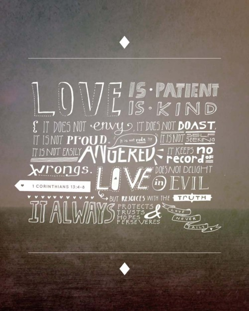Love is patient, love is kind…