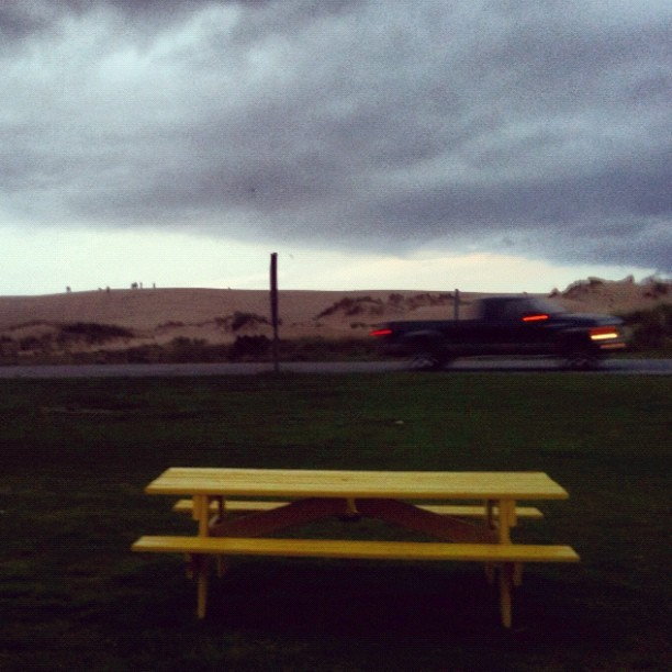 Looking out at the dunes across the street (Taken with Instagram at Sooey's BBQ & Rib Shack)