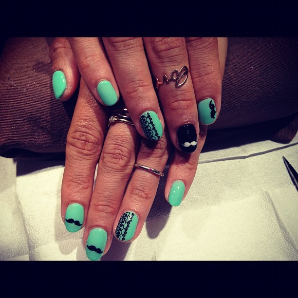 Moustache x Lace Nail Situation #nails #nailart #mint #moustache  (Taken with Instagram)