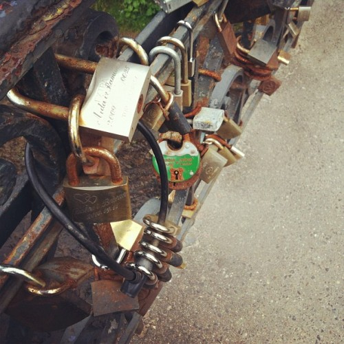 Love locks in Užupis (Taken with Instagram at Užupio tiltas | Užupis bridge)