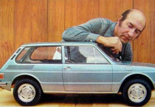 Marcio Piancastelli givin the last touches on the Scale Model of VW Brasilia Prototype, circa 1973.