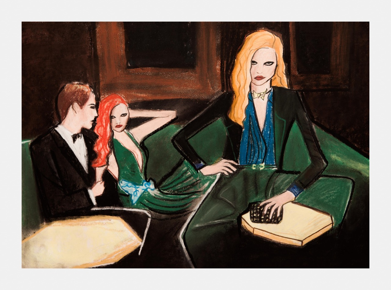 I loved the Gucci pre fall 2012 campaign so I did an illustration today based on it.To be honest I know I can do better but the soft pastels were all over the place, my hands and the drawing its own got really dirty and I guess I just lost my enthusiasm, never using soft pastels for small details again! Oh I will upload a short video in a while:)