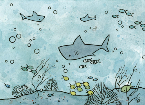 An illustration for Shark Week: Shark and Pilot Fishwatercolor and ink illustration