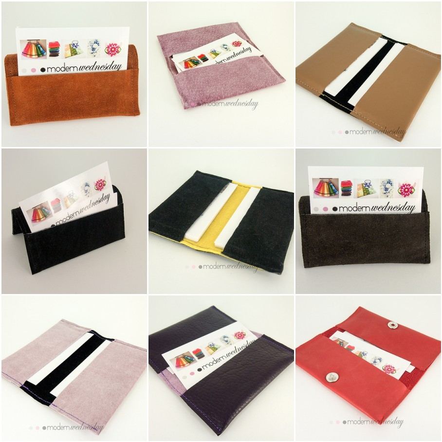 storagegeek:  Store your business cards in one of these gorgeous recylced leather and suede business card wallets. Some of the wallets are stiff enough to use as table top holders. A labour of love! Now available for purchase from my shoppe Modern Wednesday.  A friend of mine was inspired by these business card wallets to order book covers in a very similar design, so if you think you would like one as well (fabric and leather available) just drop me a line!