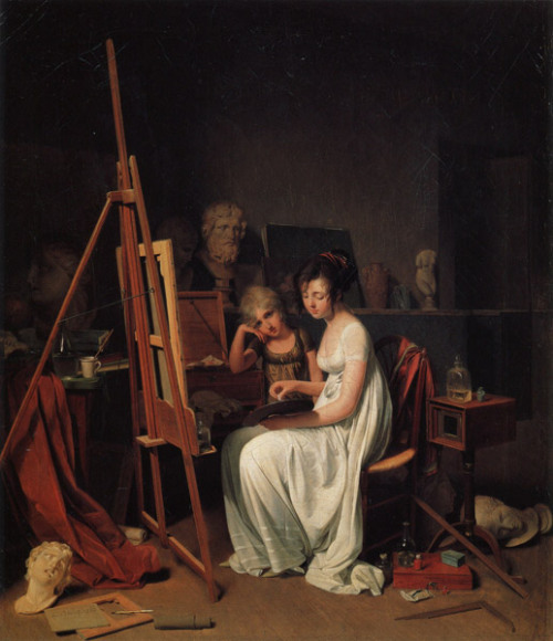books0977:  Studio of a Lady Artist (1800). Louis-Léopold Boilly (Neoclassical, 1761-1845). Oil on canvas. Pushkin Museum of Fine Arts. Moscow, Russia. Boilly's slightly erotic genre scenes were popular among many Parisian patrons. After one of his paintings was condemned as obscenity in 1794 and threatened him with imprisonment, Boilly's began painting social scenes. He created images of the Parisian Salon lifestyle with great detail of expression, gesture, costuming, and textiles.