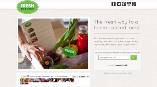 Fresh Dish is a convenient, easy way to cook a great meal from scratch. Launching Fall 2012, Fresh Dish will offer prepped meal kits, delivered to your home, ready to cook and enjoy. Delivery will be available in Southern California first, and will quickly expand nationwide. Each delivery includes ingredients for at least two different meals and simple-to-follow recipes that take 35 minutes or less to prepare. Fresh Dish makes it easy to discover new flavors, quickly cook delicious meals, and feed your family healthy food. Each meal is hand-packed by one of our professional chefs and everything is pre-measured, sliced, diced, washed, and ready to cook. Sign up here