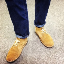 Man's got style! Designer Ross Brown showcasing our Tan Desert Boots. Tuppence if you guess his size correctly! (Taken with Instagram at Boden House)