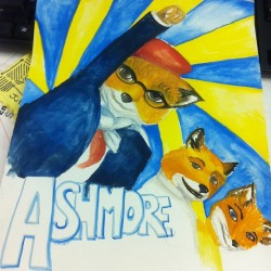 This is the greatest art gift ever #rushmore #fantasticmrfox #jasonschwartzman #wesanderson (Taken with Instagram)
