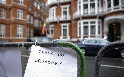 "theatlantic:  Julian Assange Granted Asylum by Ecuador   Protesters gathered outside the embassy this morning — some in support of Assange and Wikileaks; but many merely to support the idea that Ecuador's sovereignty should not be messed with. They were also waiting with members of the press for the formal decision by Ecuadorean foreign minister, Ricardo Patiño, who has just announced that Assange will be granted asylum in their country. Patiño stated that Assange's fears of persecution are real and that once in Sweden he could be extradited to the United States where he ""would not have a fair trial"" and ""his human rights would not be respected.""  Read more. [Image: Reuters/Ki Price]"