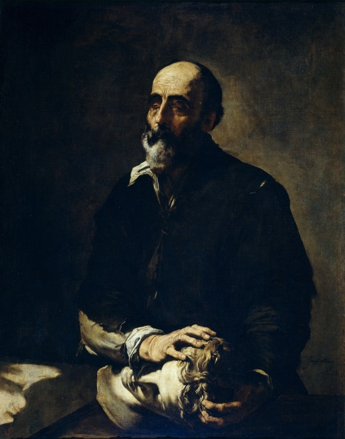 Jusepe de Ribera The Blind Sculptor · Allegory of Touch (1632)  In this portrait, the figure is shown caressing the head of a classical sculpture, probably of Apollo. The most widely-accepted interpretation of this is that it represents the sense of touch, as this Valencian artist frequently painted series of works on the five senses. During the eighteenth century, it was considered a portrait of the blind sculptor Giovanni Gonnelli, but this theory can be rejected because that artist was not even thirty when this painting was made. It was also thought to be a representation of the philosopher Carneades who, after losing his sight, was still able to recognize a bust of the god Pan by touch. It is probably a representation of the sense of touch, using the story of Carneades as its narrative vehicle. This was a very successful procedure during that period, when portraits of ancient philosophers were associated with allegories of the senses. (via Museo del Prado)   …el sentido del sabio