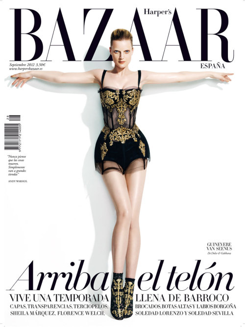 Guinevere Van Seenus in Dolce & Gabbana on the cover of Harper's Bazaar España, September 2012