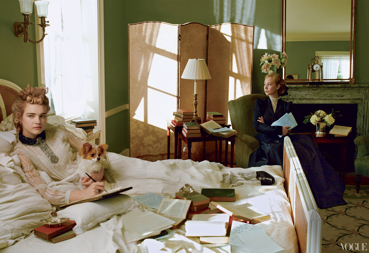 The Custom of the Country - Vogue by Annie Leibovitz, September 2012 Natalia Vodianova as Edith Wharton, Juno Temple as Wharton's secretary & friend Anna Bahlmann.
