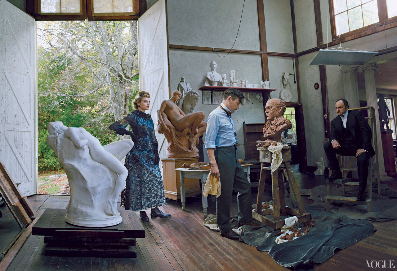 The Custom of the Country - Vogue by Annie Leibovitz, September 2012 Natalia Vodianova as Edith Wharton, Nate Lowman as Daniel Chester & Jeffrey Eugenides as Henry James.