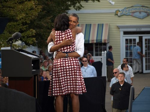 The President hugs his First Lady in Davenport, Iowa