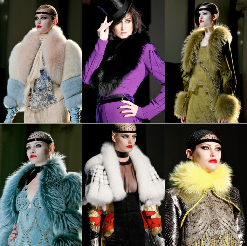 Jean Paul Gaultier Fall 2012 Couture Collection.  I can't stop drooling over the gorgeous furs!  via:style