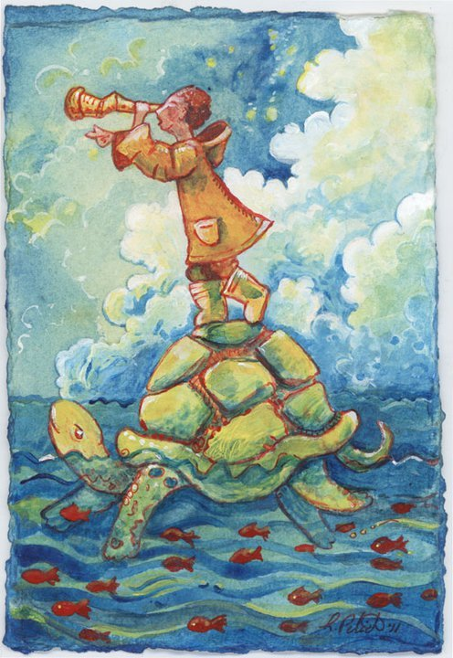 The boy and his turtle… are going out to sea. 2011 acrylic on paper—-[website | facebook]