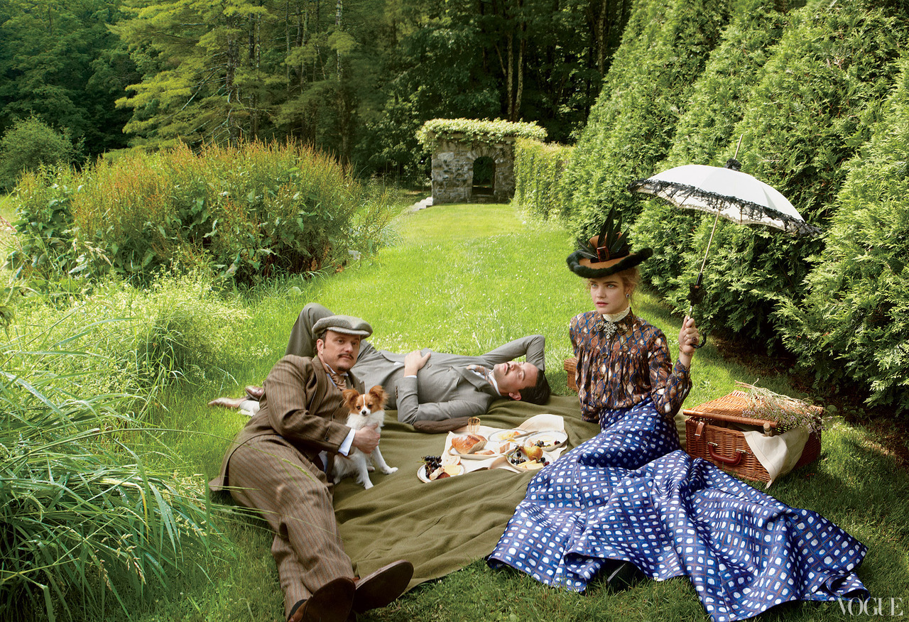 The Custom of the Country - Vogue by Annie Leibovitz, September 2012 Jeffrey Eugenides as Henry James, Jack Huston as Morton Fullerton & Natalia Vodianova as Edith Wharton.
