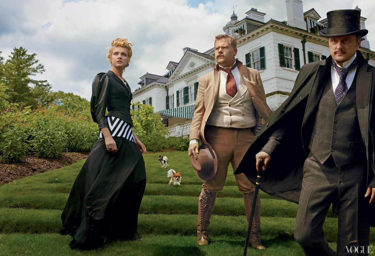 The Custom of the Country - Vogue by Annie Leibovitz, September 2012 Natalia Vodianova as Edith Wharton, James Corden as Theodore Roosevelt & Jeffrey Eugenides as Henry James.