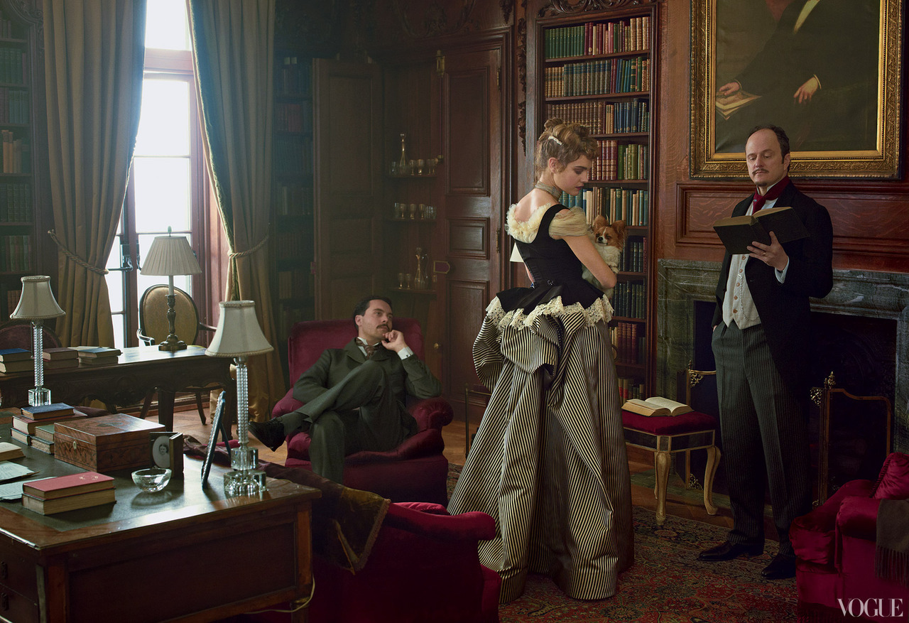 The Custom of the Country - Vogue by Annie Leibovitz, September 2012 Jack Huston as Morton Fullerton, Natalia Vodianova as Edith Wharton & Jeffrey Eugenides as Henry James.