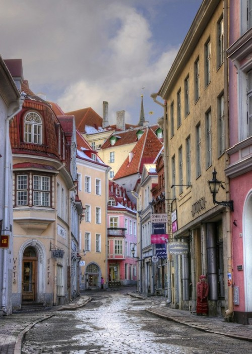 Pikk Street is the longest and one of the most beautiful street of Tallinn, Estonia