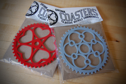 cricketpress:   Vintage Chainring Coasters More NEW items we'll be debuting at our booth this weekend but will then be available on our site!
