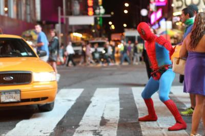 humansofnewyork:  Pragmatic Spiderman launches crimefighting career by clearing jaywalkers from a busy intersection.