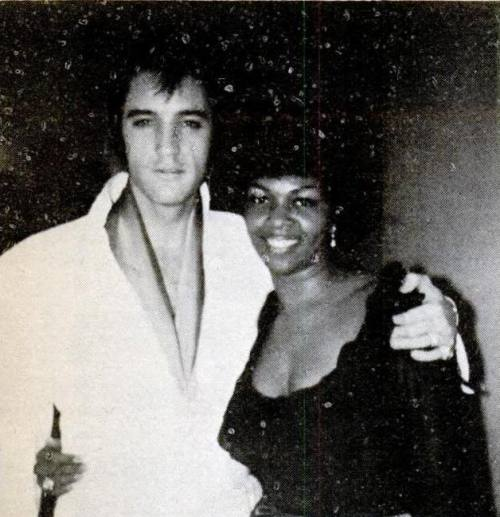 thesmithian:  Elvis Presley died on this day in 1977. +++++ art: Presley and Cissy Houston in Las Vegas, 1969  #sheiseverywoman