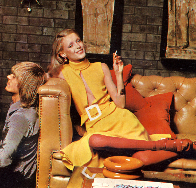 Barbara wears dress by Tsaritsa, £29. Shoes by Mary Quant. Scanned from the very first UK edition of Cosmopolitan, March 1972. Photographs by Norman Eales.