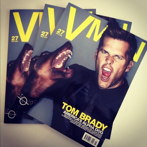 We're so excited about the new issue of VMAN starring Tom Brady by Testino and Roitfeld. Hits newsstands 8/23.