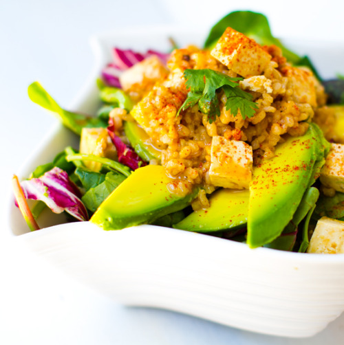 spicy peanut tofu rice salad with avocado from Healthy Happy Life