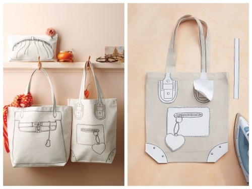 "DIY ""trompe l'oeil"" Canvas Tote Bag Tutorial and Template from Martha Stewart. These use tee shirt iron on transfer paper that you run through your ink jet printer. I have talked about tee shirt transfer paper so much because I've had great luck with the transfers holding up after being abused and laundered numerous times. You can find an example of the tee shirt transfer paper here (no affiliate links). First seen at Brooklyn Limestone here. *For hundreds more bag/tote/clutch tutorials and ideas go here: truebluemeandyou.tumblr.com/tagged/bag"