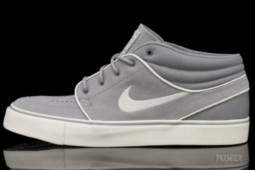 Nike SB Stefan Janoski Mid - Medium Grey a clean Janoski Mid available now.  Grey uppers in suede/canvas with White accents.  really clean with the Grey/White look Related articles Nike SB Zoom Janoski iD looks like the Janoski Low is set to hit… (fudgetacker.tumblr.com)