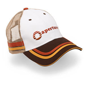 Portal Trucker Hat Fellow gamers, I have a confession to make, well, I used to wear trucker hats and not ironically like a hipster. I absolutely loved the 2000's trucker hat trend and even dressed up as a trucker hat wearing cast member of Laguna Beach for Halloween. Yep, I know and I have no shame.  My teenage self just screamed inside at the site of this Portal Trucker Hat from ThinkGeek ($24.99). I shall try not to relapse into trucker hat obsession but this is one is amazing. It combines my love of tacky hats and video games. I must resist or else I'll be a trucker wearing fiend for the next year.